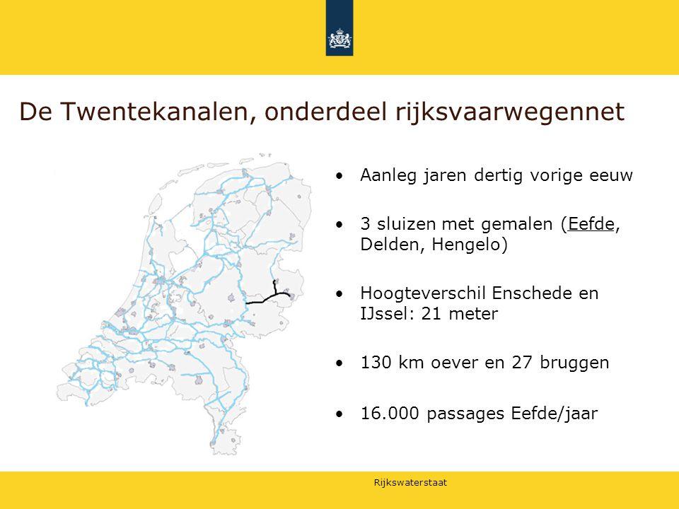 Rijkswaterstaat De Twentekanalen, onderdeel rijksvaarwegennet Aanleg jaren dertig vorige eeuw 3 sluizen met gemalen (Eefde, Delden, Hengelo) Hoogtever