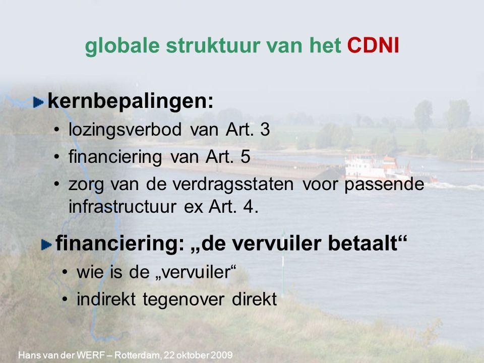 globale struktuur van het CDNI kernbepalingen: lozingsverbod van Art. 3 financiering van Art. 5 zorg van de verdragsstaten voor passende infrastructuu