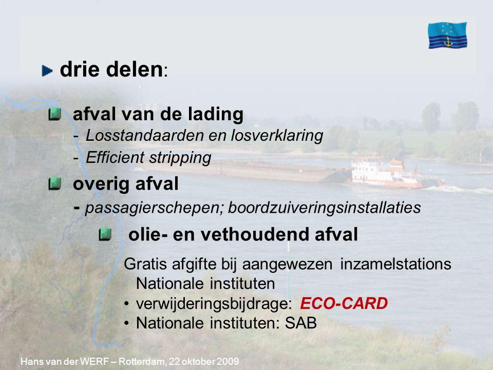 drie delen : overig afval - passagierschepen; boordzuiveringsinstallaties Hans van der WERF – Rotterdam, 22 oktober 2009 olie- en vethoudend afval Gra