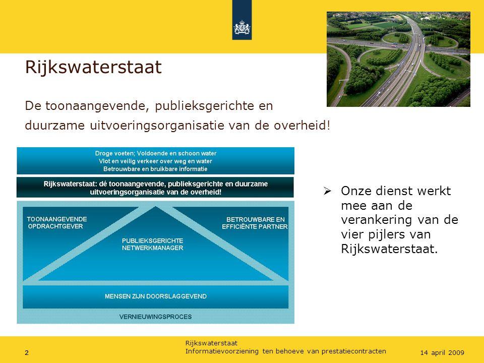 Rijkswaterstaat Informatievoorziening ten behoeve van prestatiecontracten 214 april 20092 Rijkswaterstaat De toonaangevende, publieksgerichte en duurzame uitvoeringsorganisatie van de overheid.