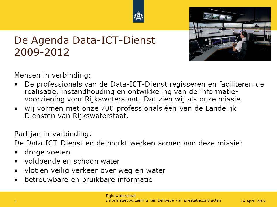 Rijkswaterstaat Informatievoorziening ten behoeve van prestatiecontracten 314 april 2009 De Agenda Data-ICT-Dienst 2009-2012 Mensen in verbinding: De professionals van de Data-ICT-Dienst regisseren en faciliteren de realisatie, instandhouding en ontwikkeling van de informatie- voorziening voor Rijkswaterstaat.