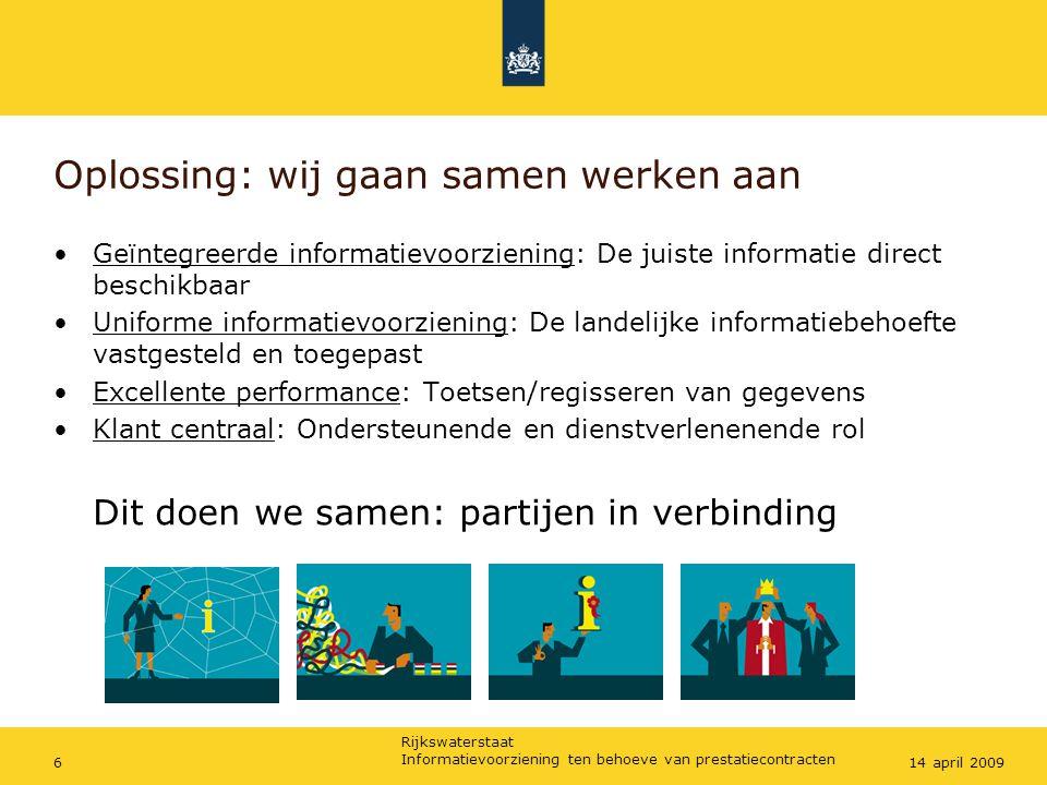 Rijkswaterstaat Informatievoorziening ten behoeve van prestatiecontracten 714 april 2009 Vraag 1: Waar heeft volgens jou de BV Nederland nu en op termijn voor wat betreft informatievoorziening het meest behoefte aan in termen van noodzakelijk en nuttig ?