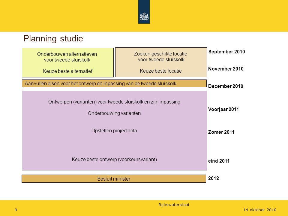 Rijkswaterstaat 914 oktober 2010 Planning studie Onderbouwen alternatieven voor tweede sluiskolk Keuze beste alternatief Aanvullen eisen voor het ontw