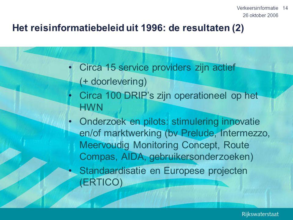 26 oktober 2006 Verkeersinformatie14 Het reisinformatiebeleid uit 1996: de resultaten (2) Circa 15 service providers zijn actief (+ doorlevering) Circ