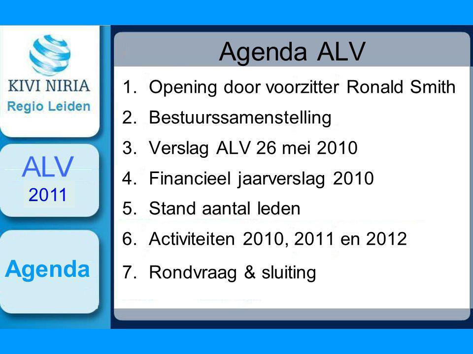 Agenda ALV 1.Opening door voorzitter Ronald Smith 2.Bestuurssamenstelling 3.Verslag ALV 26 mei 2010 4.Financieel jaarverslag 2010 5.Stand aantal leden 6.Activiteiten 2010, 2011 en 2012 7.Rondvraag & sluiting Agenda 2011