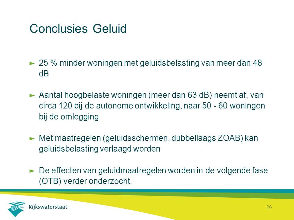 26 Conclusies Geluid 25 % minder woningen met geluidsbelasting van meer dan 48 dB Aantal hoogbelaste woningen (meer dan 63 dB) neemt af, van circa 120 bij de autonome ontwikkeling, naar 50 - 60 woningen bij de omlegging Met maatregelen (geluidsschermen, dubbellaags ZOAB) kan geluidsbelasting verlaagd worden De effecten van geluidmaatregelen worden in de volgende fase (OTB) verder onderzocht.