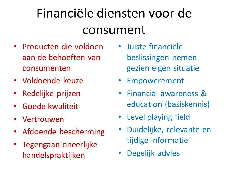 Financiële diensten voor de consument Producten die voldoen aan de behoeften van consumenten Voldoende keuze Redelijke prijzen Goede kwaliteit Vertrou