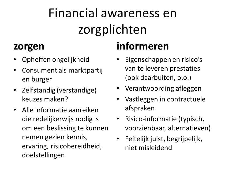 Financial awareness en zorgplichten zorgen Opheffen ongelijkheid Consument als marktpartij en burger Zelfstandig (verstandige) keuzes maken? Alle info