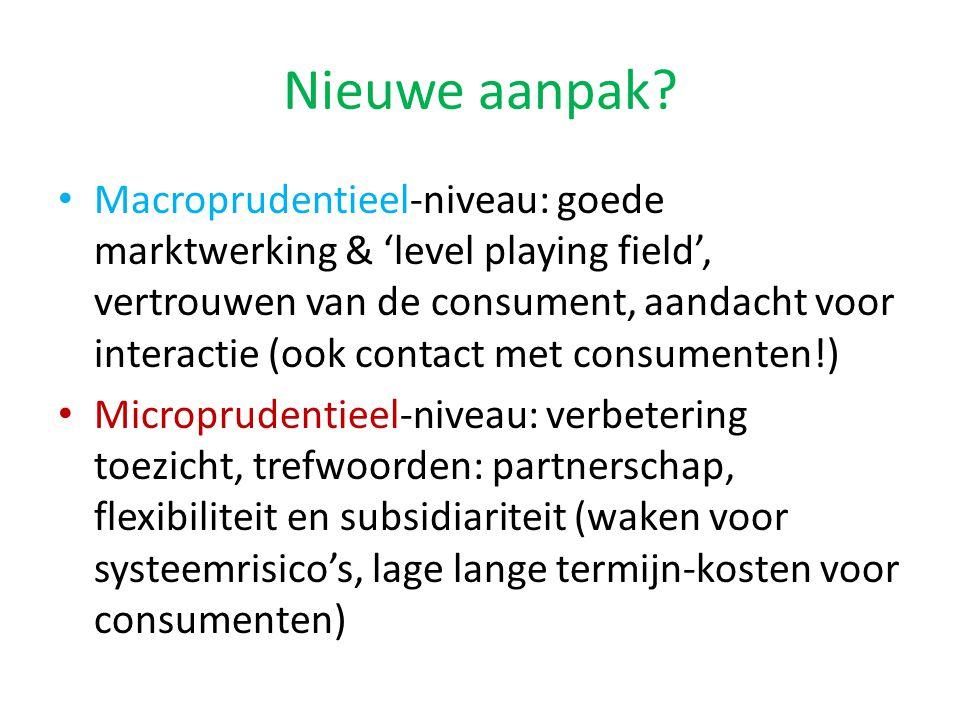 Nieuwe aanpak? Macroprudentieel-niveau: goede marktwerking & 'level playing field', vertrouwen van de consument, aandacht voor interactie (ook contact