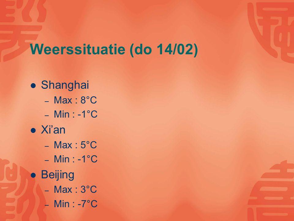 Weerssituatie (do 14/02) Shanghai – Max : 8°C – Min : -1°C Xi'an – Max : 5°C – Min : -1°C Beijing – Max : 3°C – Min : -7°C