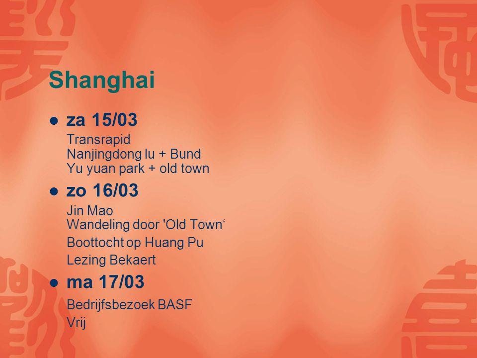 Shanghai za 15/03 Transrapid Nanjingdong lu + Bund Yu yuan park + old town zo 16/03 Jin Mao Wandeling door 'Old Town' Boottocht op Huang Pu Lezing Bek
