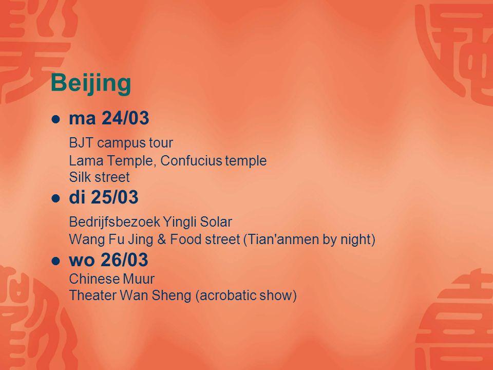 Beijing ma 24/03 BJT campus tour Lama Temple, Confucius temple Silk street di 25/03 Bedrijfsbezoek Yingli Solar Wang Fu Jing & Food street (Tian'anmen