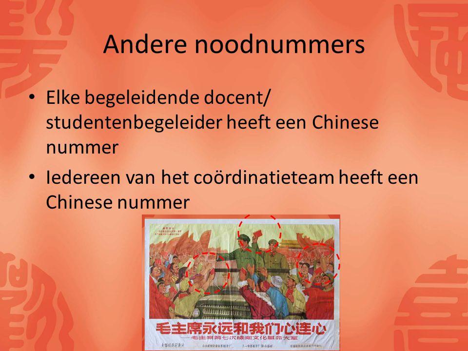 Andere noodnummers Elke begeleidende docent/ studentenbegeleider heeft een Chinese nummer Iedereen van het coördinatieteam heeft een Chinese nummer
