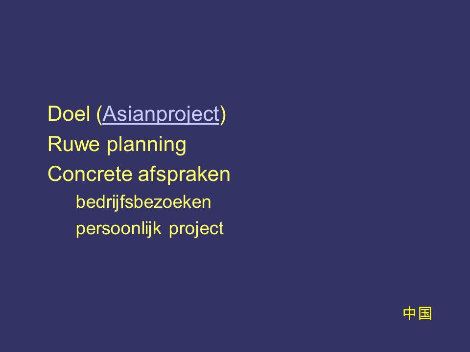 中国 Doel (Asianproject)Asianproject Ruwe planning Concrete afspraken bedrijfsbezoeken persoonlijk project