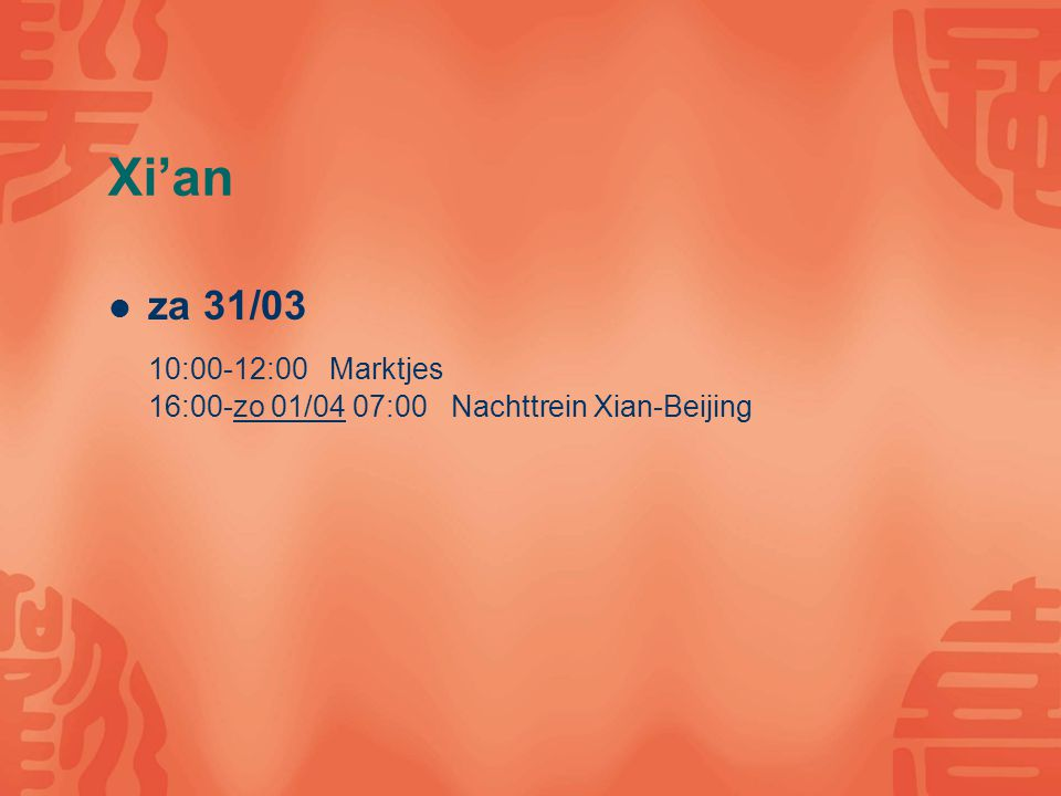 Beijing zo 01/04 09:00-12:00 BJT campus tour 13:00-16:00 Wandeling Houhai ma 02/04 08:00-12:00 Tian An Men plein & Forbidden city 14:00-16:00 Zoo 16:00-00:00 Wang Fu Jing & Food street (Tian anmen by night)