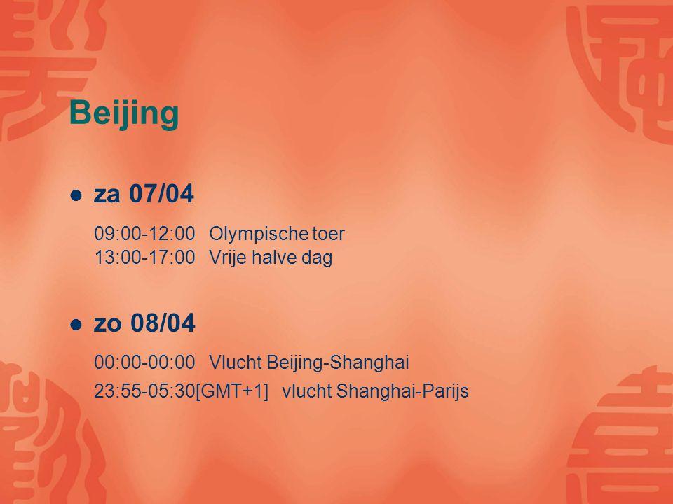 Beijing za 07/04 09:00-12:00 Olympische toer 13:00-17:00 Vrije halve dag zo 08/04 00:00-00:00 Vlucht Beijing-Shanghai 23:55-05:30[GMT+1] vlucht Shanghai-Parijs