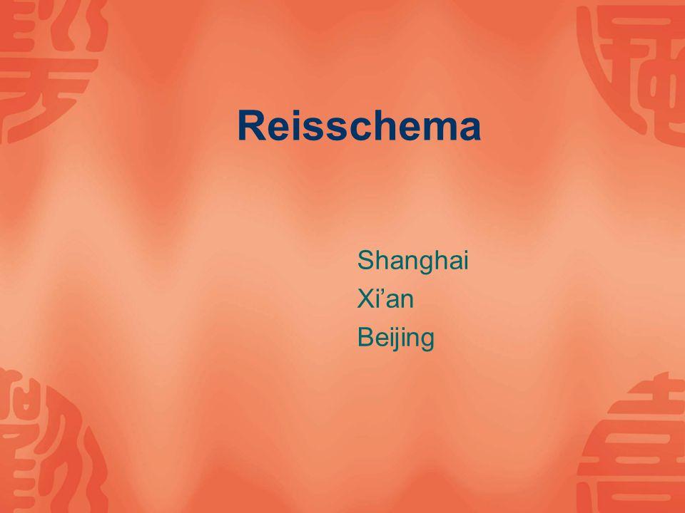 Reisschema Shanghai Xi'an Beijing