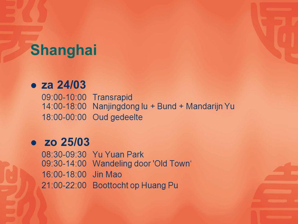 Shanghai ma 26/03 08:00-12:00 Bedrijfsbezoek Pfizer 13:00-14:00 Eten kopen voor op nachttrein 16:00-di 27/03 08:00 Nachttrein Shanghai-Xian