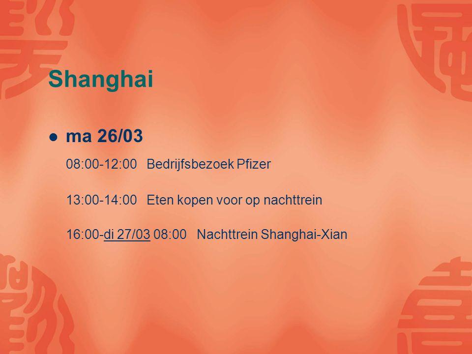 Xi'an di 27/03 10:00-14:00 Bedrijfsbezoek: Janssens Pharmaceutica 14:00-16:00 Medical Market 16:00-00:00 Stadsbezoek wo 28/03 09:00-12:00 Campus Bezoek 12:00-13:00 Eten met studenten 14:00-15:00 Museum geschiedenis Xi an 15:00-00:00 Vrij