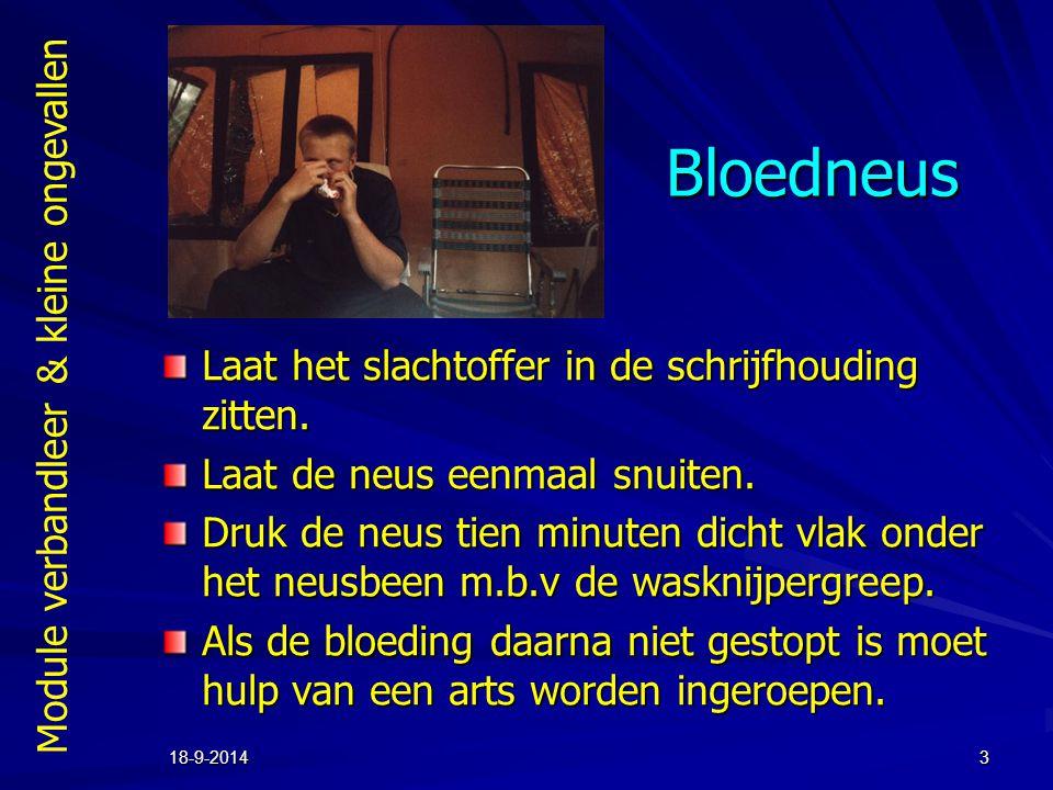 Module verbandleer & kleine ongevallen 18-9-20143 Bloedneus Laat het slachtoffer in de schrijfhouding zitten. Laat de neus eenmaal snuiten. Druk de ne