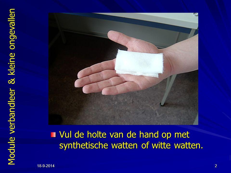 Module verbandleer & kleine ongevallen 18-9-20142 Vul de holte van de hand op met synthetische watten of witte watten.