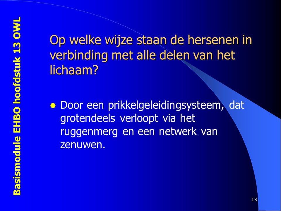 Basismodule EHBO hoofdstuk 13 OWL 13 Op welke wijze staan de hersenen in verbinding met alle delen van het lichaam? Door een prikkelgeleidingsysteem,