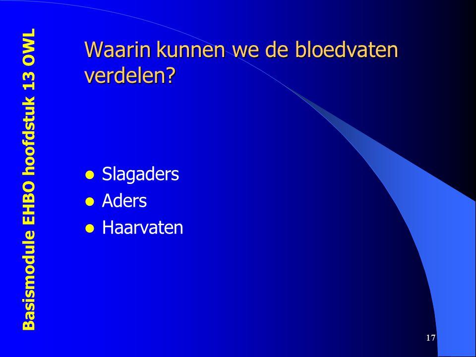 Basismodule EHBO hoofdstuk 13 OWL 17 Waarin kunnen we de bloedvaten verdelen? Slagaders Aders Haarvaten