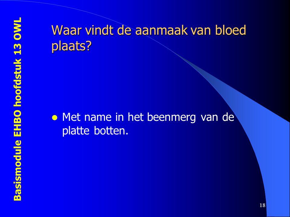 Basismodule EHBO hoofdstuk 13 OWL 18 Waar vindt de aanmaak van bloed plaats? Met name in het beenmerg van de platte botten.