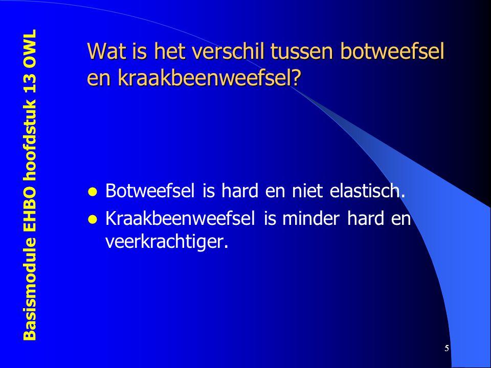 Basismodule EHBO hoofdstuk 13 OWL 5 Wat is het verschil tussen botweefsel en kraakbeenweefsel? Botweefsel is hard en niet elastisch. Kraakbeenweefsel