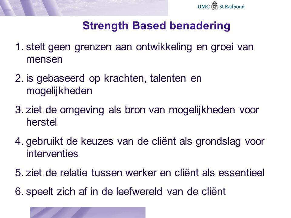 Strength Based benadering 1.stelt geen grenzen aan ontwikkeling en groei van mensen 2.is gebaseerd op krachten, talenten en mogelijkheden 3.ziet de om