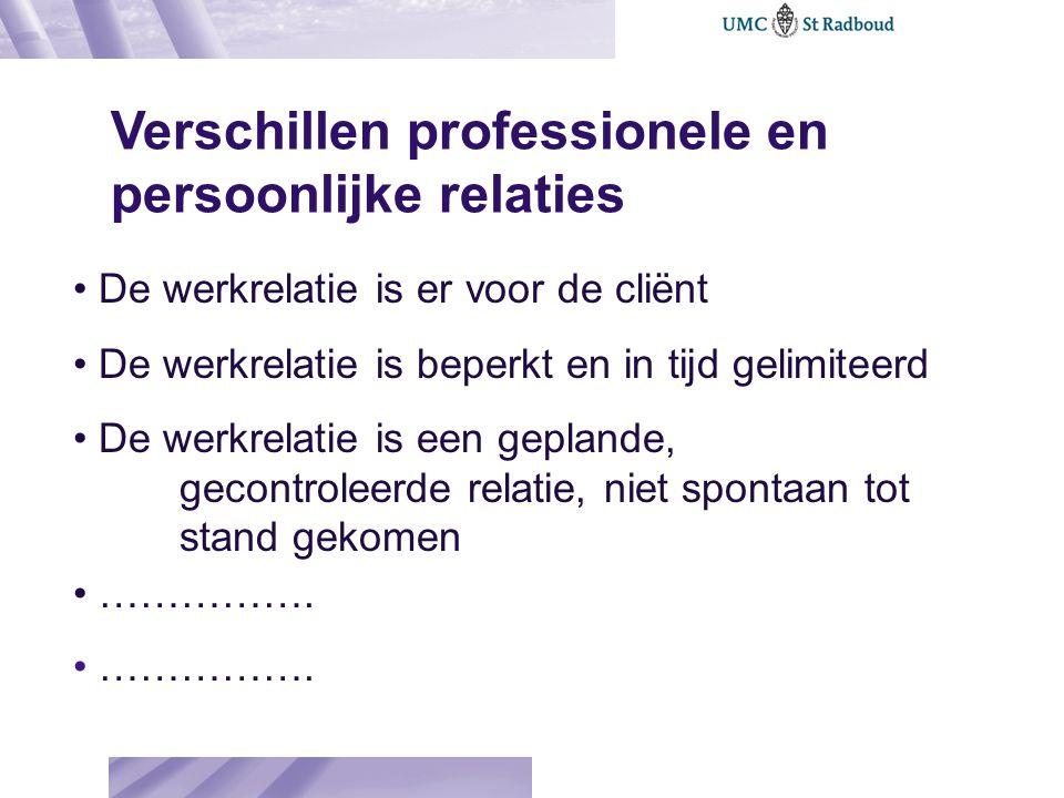Verschillen professionele en persoonlijke relaties De werkrelatie is er voor de cliënt De werkrelatie is beperkt en in tijd gelimiteerd De werkrelatie