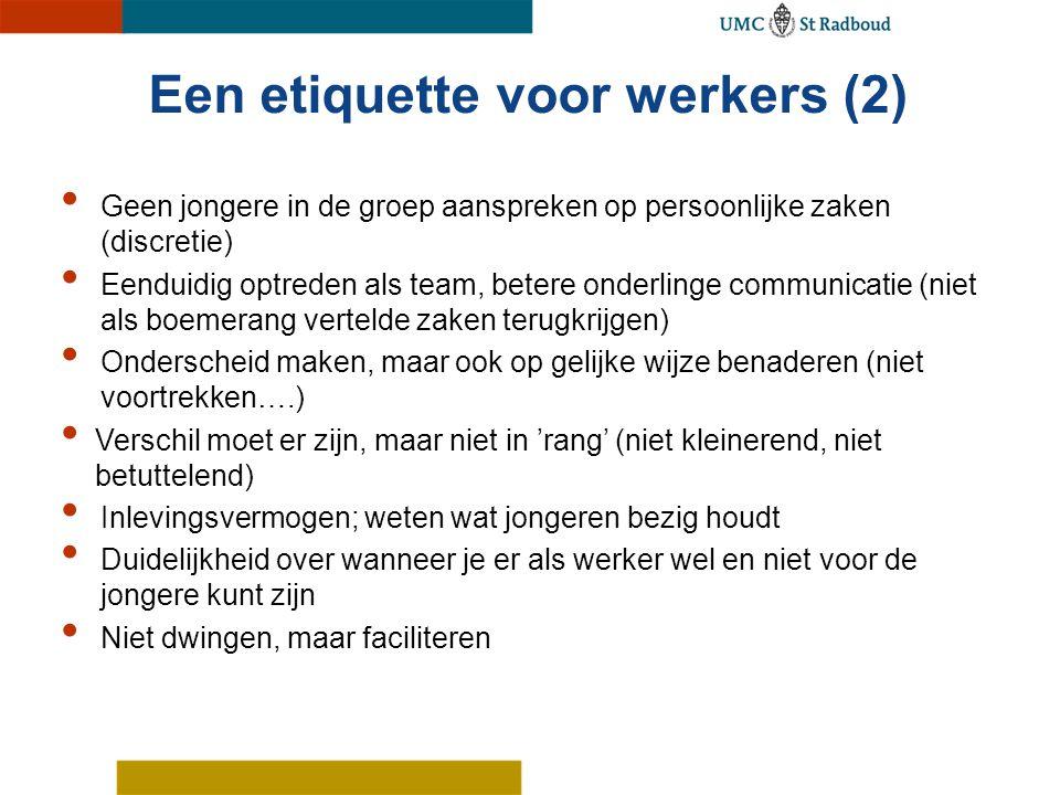 Een etiquette voor werkers (2) Geen jongere in de groep aanspreken op persoonlijke zaken (discretie) Eenduidig optreden als team, betere onderlinge co