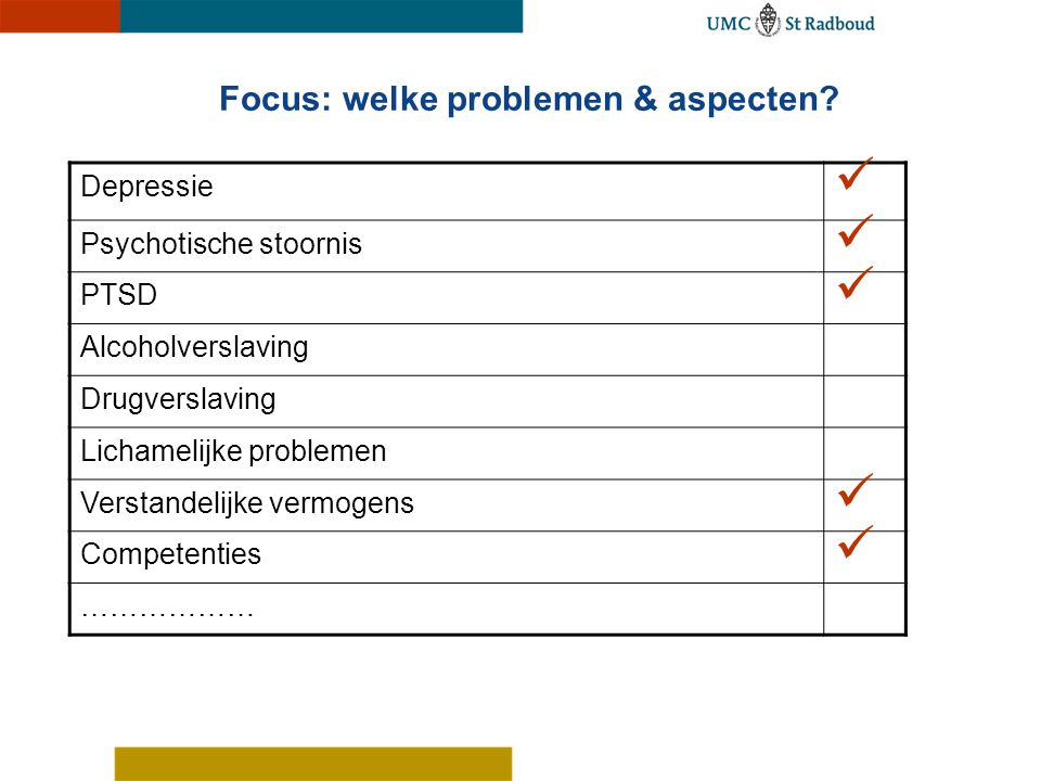 Focus: welke problemen & aspecten? Depressie Psychotische stoornis PTSD Alcoholverslaving Drugverslaving Lichamelijke problemen Verstandelijke vermoge