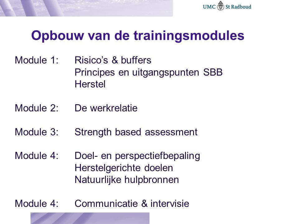 Opbouw van de trainingsmodules Module 1: Risico's & buffers Principes en uitgangspunten SBB Herstel Module 2: De werkrelatie Module 3: Strength based
