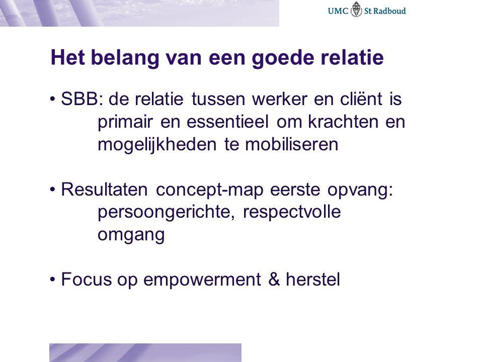 Het belang van een goede relatie SBB: de relatie tussen werker en cliënt is primair en essentieel om krachten en mogelijkheden te mobiliseren Resultat