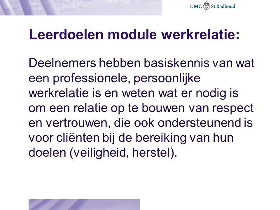 Leerdoelen module werkrelatie: Deelnemers hebben basiskennis van wat een professionele, persoonlijke werkrelatie is en weten wat er nodig is om een re