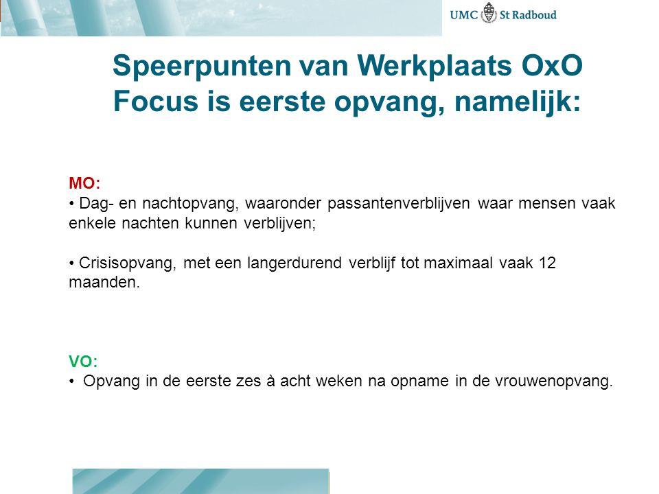 Speerpunten van Werkplaats OxO Prioriteit bij de ontwikkeling van Een basismethodiek in de eerste opvang Een effectieve kortdurende interventie in de eerste periode na aanmelding van mensen bij de eerste opvang, met het oog op herstel en een passend vervolg