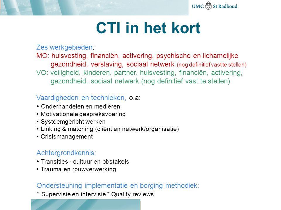 CTI steeds minder intensief CTI Fase 1 3 mnd Contact en inventarisatie CTI Fase 2 3 mnd Uitproberen en bijstellen CTI Fase 3 3 mnd Overdracht Transitie- moment = vertrek Enkele contacten in opvang Basismeting T0 2 week voor vertrek T1, 3mndT2, 6mndT3, 9mnd