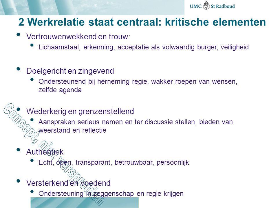 2 Werkrelatie staat centraal: kritische elementen Vertrouwenwekkend en trouw: Lichaamstaal, erkenning, acceptatie als volwaardig burger, veiligheid Do
