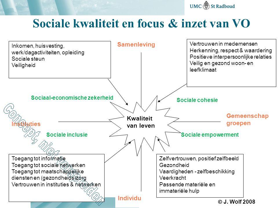 Sociale kwaliteit en focus & inzet van VO Samenleving Instituties Gemeenschap groepen Sociaal-economische zekerheid Sociale cohesie Sociale inclusieSo