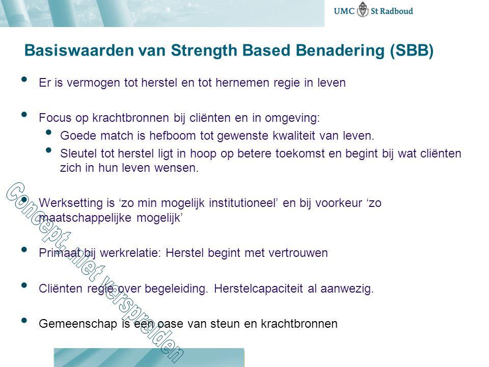 Basiswaarden van Strength Based Benadering (SBB) Er is vermogen tot herstel en tot hernemen regie in leven Focus op krachtbronnen bij cliënten en in o