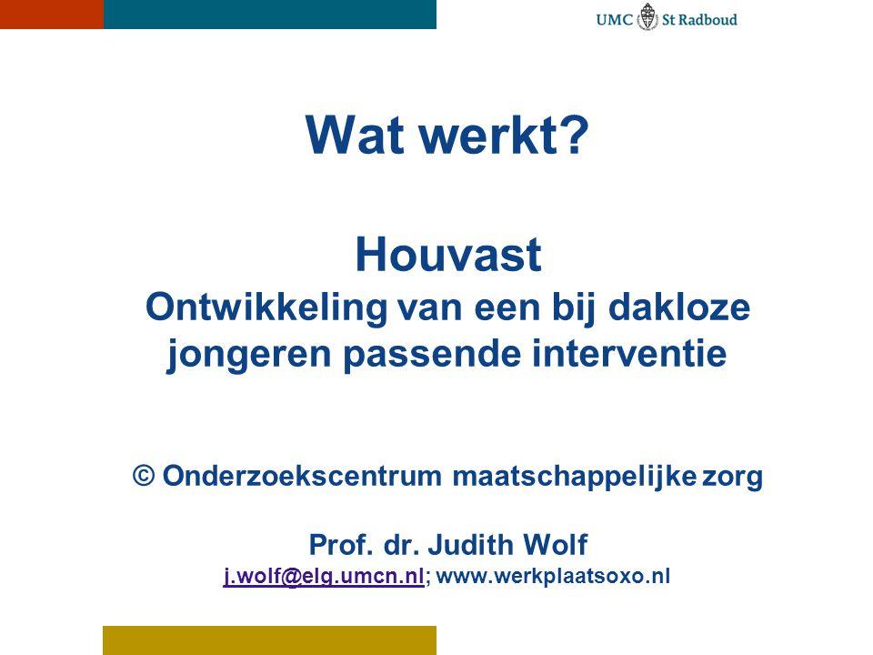 Wat werkt? Houvast Ontwikkeling van een bij dakloze jongeren passende interventie © Onderzoekscentrum maatschappelijke zorg Prof. dr. Judith Wolf j.wo