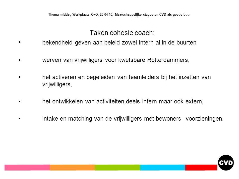 Taken cohesie coach: bekendheid geven aan beleid zowel intern al in de buurten werven van vrijwilligers voor kwetsbare Rotterdammers, het activeren en begeleiden van teamleiders bij het inzetten van vrijwilligers, het ontwikkelen van activiteiten,deels intern maar ook extern, intake en matching van de vrijwilligers met bewoners voorzieningen.