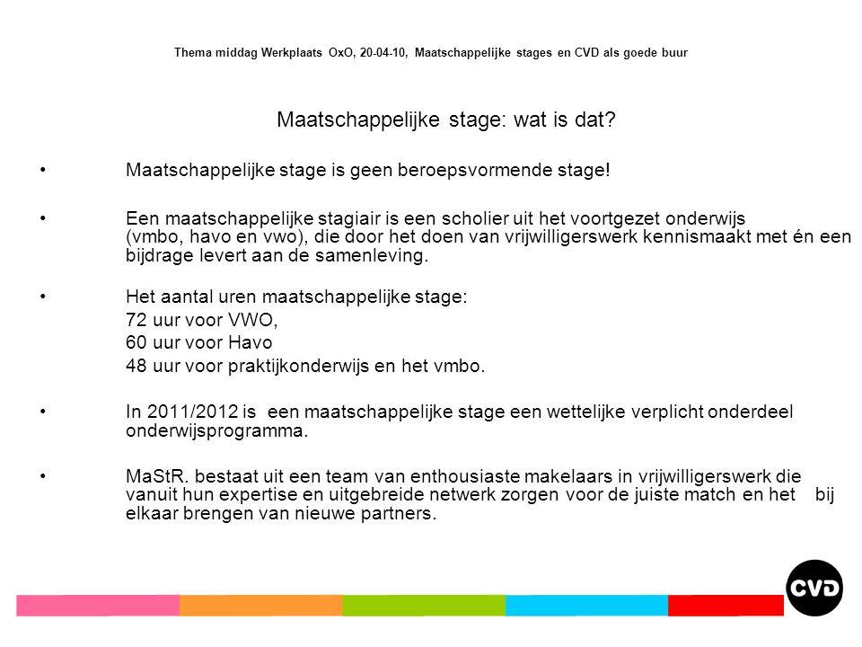 Thema middag Werkplaats OxO, 20-04-10, Maatschappelijke stages en CVD als goede buur Maatschappelijke stage: wat is dat.