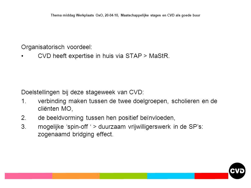 Thema middag Werkplaats OxO, 20-04-10, Maatschappelijke stages en CVD als goede buur Organisatorisch voordeel: CVD heeft expertise in huis via STAP > MaStR.