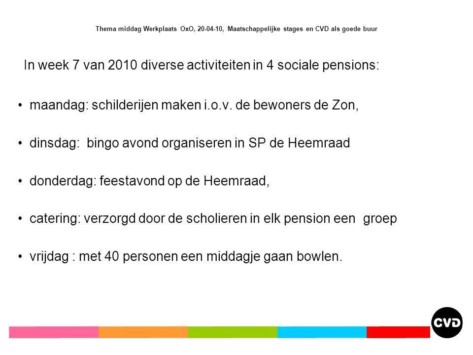 Thema middag Werkplaats OxO, 20-04-10, Maatschappelijke stages en CVD als goede buur In week 7 van 2010 diverse activiteiten in 4 sociale pensions: maandag: schilderijen maken i.o.v.
