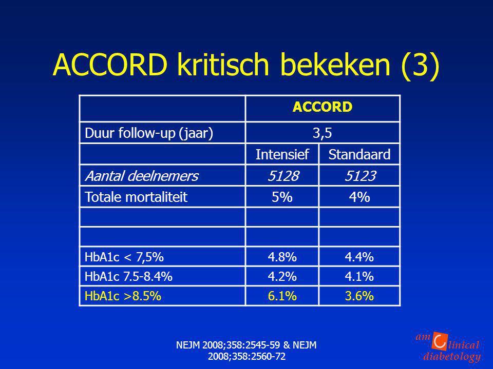 linical diabetology am NEJM 2008;358:2545-59 & NEJM 2008;358:2560-72 ACCORD Duur follow-up (jaar)3,5 IntensiefStandaard Aantal deelnemers51285123 Tota