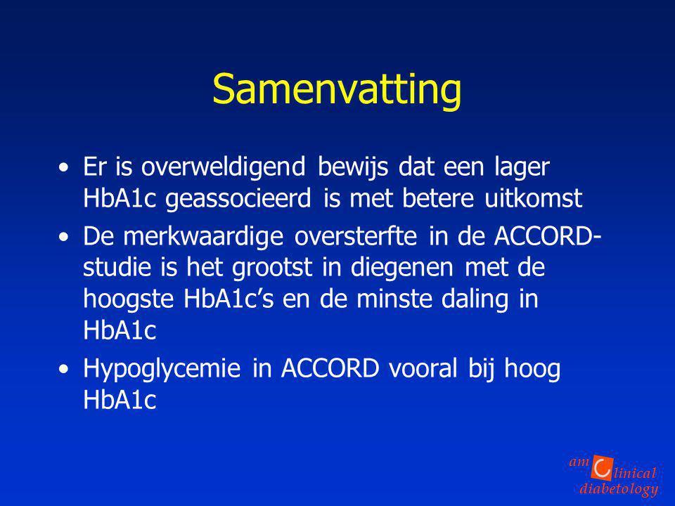 linical diabetology am Samenvatting Er is overweldigend bewijs dat een lager HbA1c geassocieerd is met betere uitkomst De merkwaardige oversterfte in