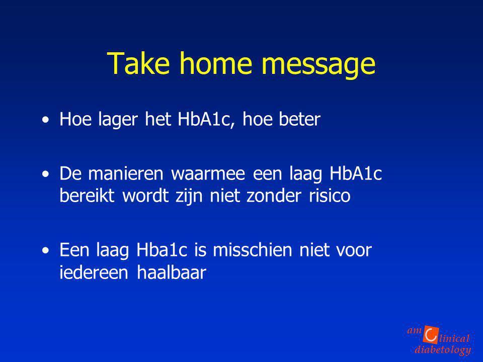 linical diabetology am Take home message Hoe lager het HbA1c, hoe beter De manieren waarmee een laag HbA1c bereikt wordt zijn niet zonder risico Een l