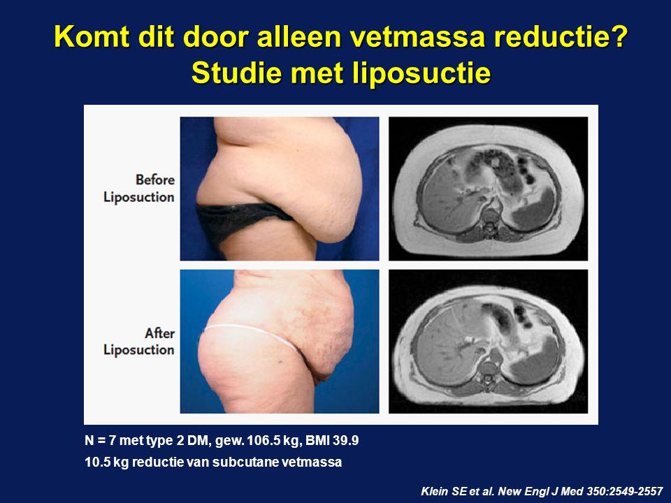 Komt dit door alleen vetmassa reductie? Studie met liposuctie Klein SE et al. New Engl J Med 350:2549-2557 N = 7 met type 2 DM, gew. 106.5 kg, BMI 39.